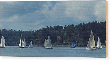 Winter Sailing In Puget Sound Wood Print by Lori Seaman