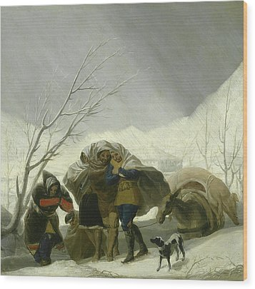 Winter Scene Wood Print by Goya