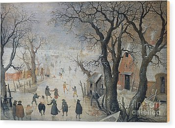 Winter Scene Wood Print by Hendrik Avercamp