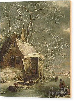 Winter Scene Wood Print by Jan Beerstraten