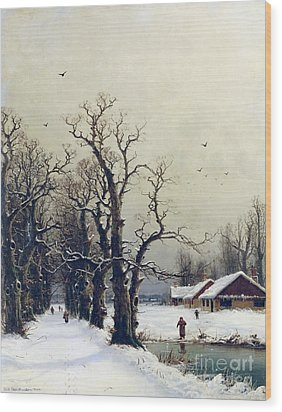 Winter Scene Wood Print by Nils Hans Christiansen