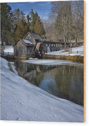 Winter Snow At Mabry Mill Wood Print