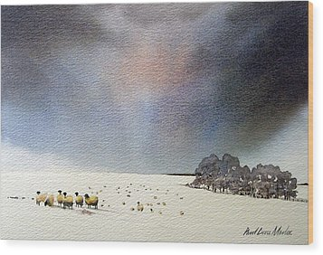 Winter Snow Swaledale Wood Print by Paul Dene Marlor
