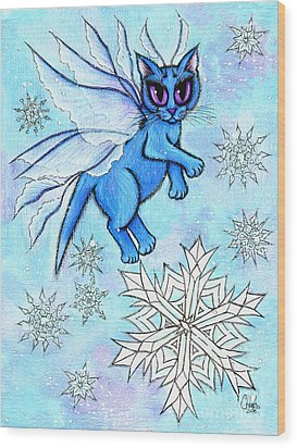 Winter Snowflake Fairy Cat Wood Print by Carrie Hawks