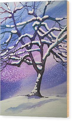 Winter Snowstorm Wood Print by Christine Camp