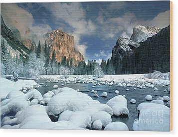 Wood Print featuring the photograph Winter Storm In Yosemite National Park by Dave Welling