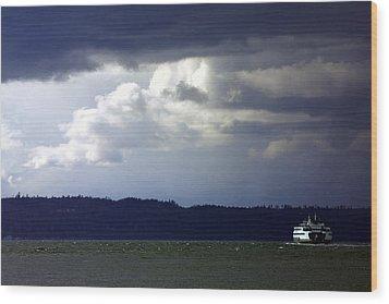 Winter Storm Wood Print by Karen Ulvestad
