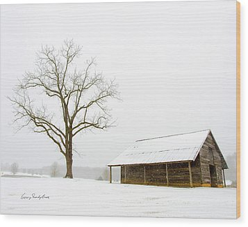 Winter Storm On The Farm Wood Print by George Randy Bass