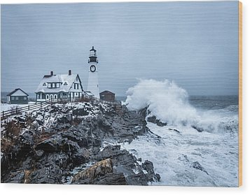 Winter Storm, Portland Headlight Wood Print
