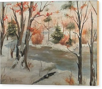Winter Stream Wood Print by Roseann Gilmore