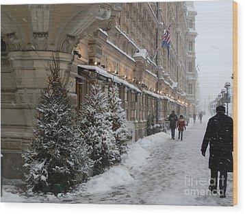 Winter Stroll In Helsinki Wood Print by Margaret Brooks