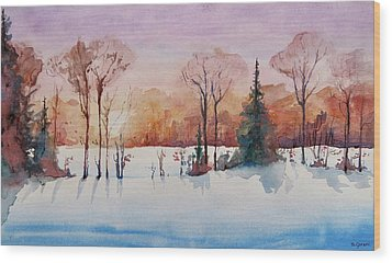 Winter Sunrise Wood Print by Geni Gorani