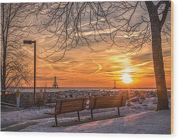 Winter Sunrise In The Park Wood Print