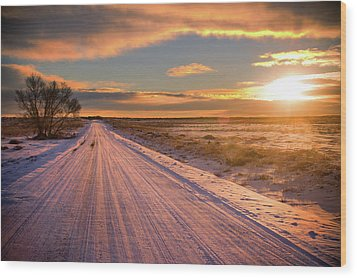 Winter Sunrise Light Wood Print