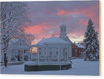 Winter Sunrise On The Common Wood Print by John Burk