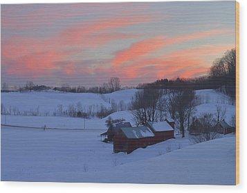 Winter Sunset At Jenne Farm Vermont Wood Print by John Burk