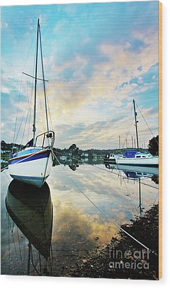 Winter Sunset At Mylor Bridge Wood Print