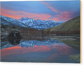 Wood Print featuring the photograph Winter Sunset At The Wallsburg Turn. by Johnny Adolphson