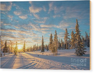 Wood Print featuring the photograph Winter Sunset by Delphimages Photo Creations