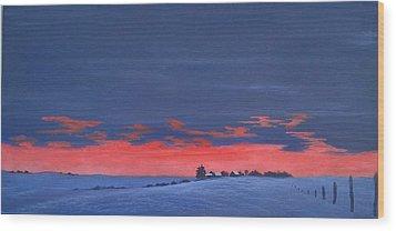 Winter Sunset Wood Print by Denise   Hoff