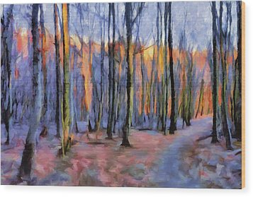 Winter Sunset In The Beech Wood Wood Print
