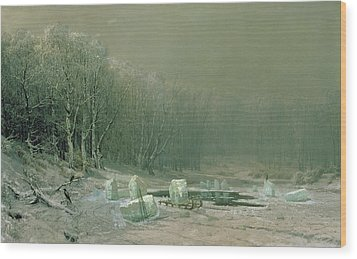 Winter The Laying Off Of Ice Wood Print by Arseniy Ivanovich Meshchersky