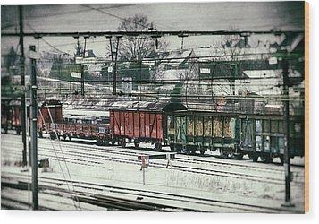 Winter Transport Wood Print by Wim Lanclus
