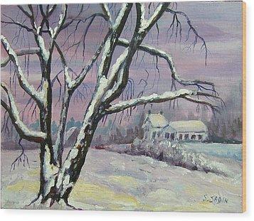 Winter Tree Wood Print by Saga Sabin