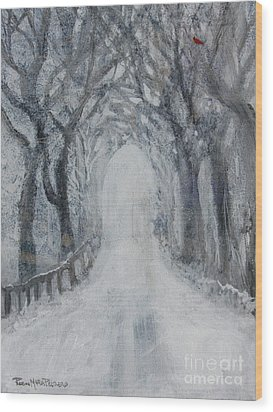 Wood Print featuring the painting Winter Tree Tunnel by Robin Maria Pedrero