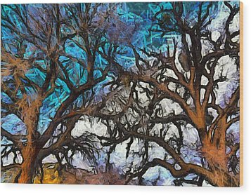 Wood Print featuring the photograph Winter Trees At Fort Tejon Lebec California Abstract by Floyd Snyder