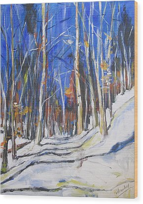 Wood Print featuring the painting Winter Trees by Debora Cardaci
