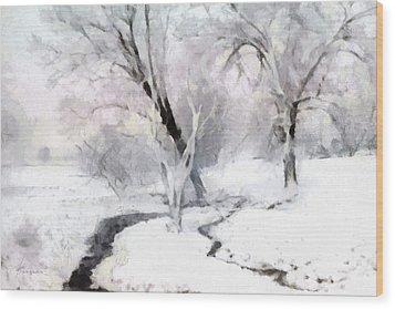 Wood Print featuring the digital art Winter Trees by Francesa Miller