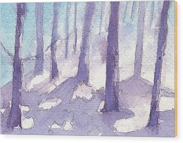 Winter Trees Wood Print by Jan Bennicoff