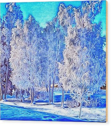 Winter Trees Wood Print by Ron Bissett