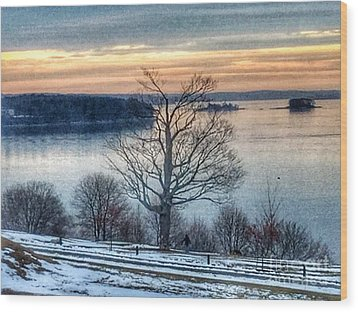 Winter Twilight At Fort Allen Park Wood Print by Patricia E Sundik