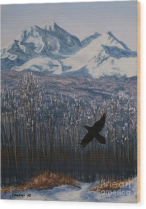 Wood Print featuring the painting Winter Valley Raven by Stanza Widen