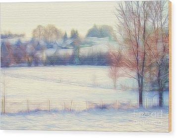 Winter Village Wood Print