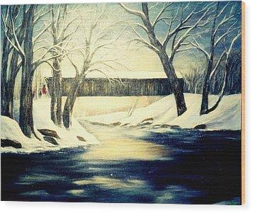 Winter Walk At Bennett's Mill Bridge Wood Print by Gail Kirtz