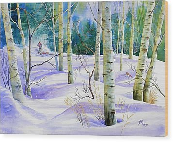 Winter Walk Wood Print by Gail Vass