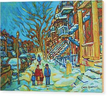 Winter  Walk In The City Wood Print by Carole Spandau