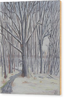 Winter Walk Wood Print by Robert P Hedden