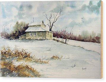 Winter Washday Wood Print by Sam Sidders