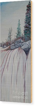Wood Print featuring the painting Winter Waterfall by Marilyn  McNish