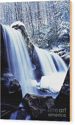 Winter Waterfall Wood Print by Thomas R Fletcher