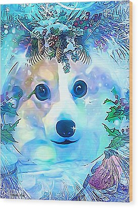 Wood Print featuring the digital art Winter Welsh Corgi by Kathy Kelly