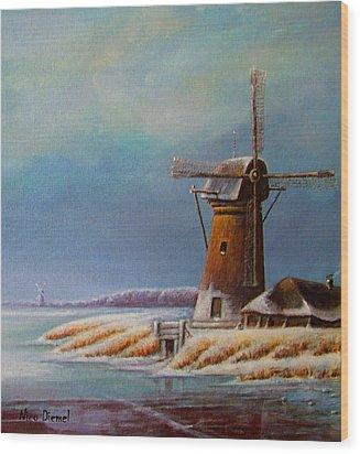 Winter Windmill Wood Print by Nick Diemel