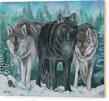 Winter Wolves Wood Print