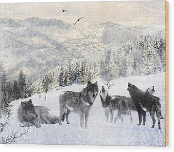 Winter Wolves Wood Print by Lourry Legarde