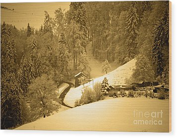 Wood Print featuring the photograph Winter Wonderland In Switzerland - Up The Hills by Susanne Van Hulst
