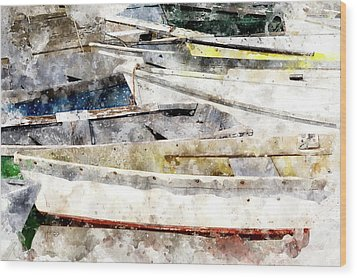 Winterport Dories Wc Wood Print by Peter J Sucy